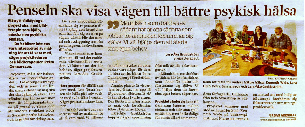 Nya Lidköpings Tidningen har skrivit om Projektet Måla för hälsa.